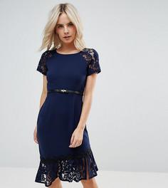Платье с короткими рукавами и отделкой кроше Paper Dolls Petite - Темно-синий