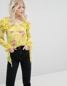 Блузка с цветочным принтом и оборкой Miss Selfridge - Мульти