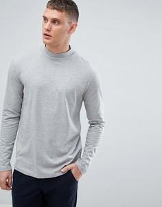 Серая трикотажная футболка с длинными рукавами и высоким воротником Lindbergh - Серый