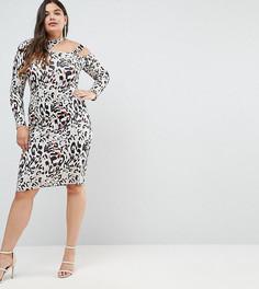 Платье миди со звериным принтом и вырезом ASOS CURVE - Мульти