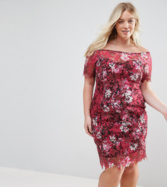 Кружевное платье миди с цветочным принтом и широким вырезом Paper Dolls Plus - Мульти