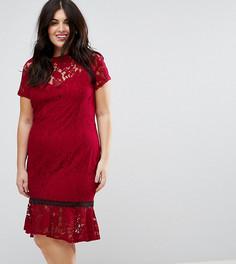 Кружевное платье с короткими рукавами и отделкой кроше Paper Dolls Plus - Красный