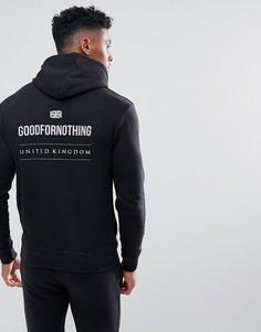 Худи черного цвета со светоотражающим принтом на спине Good For Nothing - Черный