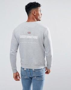 Серый свитшот с принтом на спине Good For Nothing - Серый