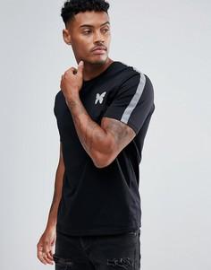Черная обтягивающая футболка со светоотражающими полосками на рукавах Good For Nothing - Черный
