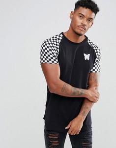 Черная обтягивающая футболка с принтом в шахматную клетку на рукавах Good For Nothing - Черный