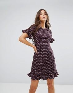 Чайное платье миди с принтом Traffic People - Фиолетовый
