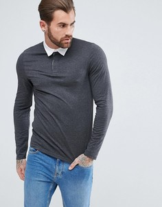 Темно-серая облегающая футболка-поло с длинными рукавами ASOS - Серый
