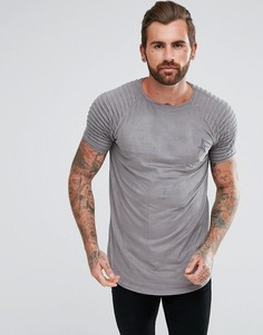 Серая обтягивающая футболка из искусственной замши с отделкой в байкерском стиле на рукавах Aces Couture - Серый