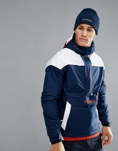 Синяя с белым утепленная куртка с капюшоном Columbia Challenger - Темно-синий