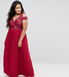 Платье макси с плиссированной юбкой и открытыми плечами Little Mistress Plus - Красный
