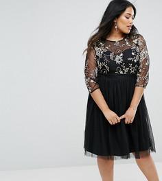 Короткое приталенное платье с вышивкой Little Mistress Plus - Черный