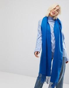 Oversize-шарф с бахромой Monki - Синий