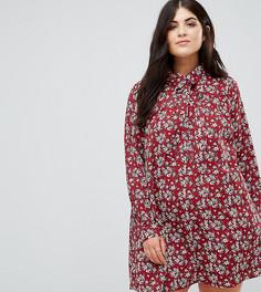 Платье-рубашка с длинными рукавами и цветочным принтом Alice & You - Красный