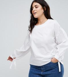 Свободная блузка с оборками и завязками на манжетах Alice & You - Белый