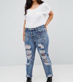 Рваные джинсы бойфренда с отделкой камнями Alice & You - Синий