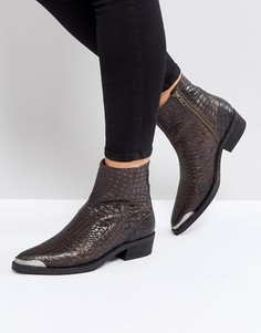 Ботинки с эффектом крокодиловой кожи Selected - Коричневый