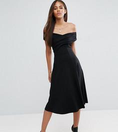 Приталенное платье миди с широким вырезом ASOS TALL - Черный