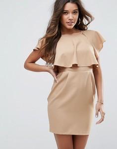 Платье мини с накладкой ASOS - Бежевый