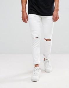 Белые зауженные джинсы с дырками на коленях ASOS - Белый