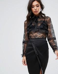 Кружевная блузка с оборкой True Decadence - Черный