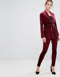 Премиум-брюки скинни из мятого бархата True Decadence - Красный