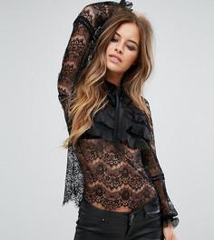 Кружевная блузка с оборками True Decadence Petite - Черный