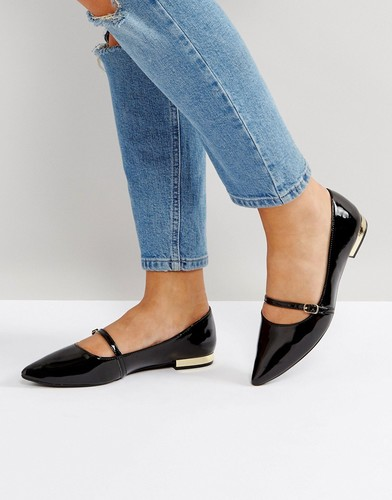 Черные лакированные туфли на плоском каблуке Head Over Heels - Черный