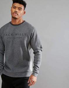 Серый свитер в стиле колор блок с круглым вырезом Jack Wills Sporting Goods - Серый