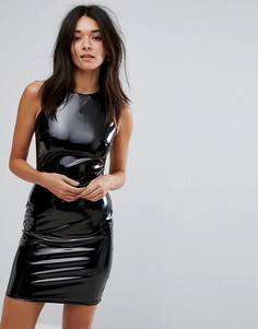 Облегающее платье мини с блестящим виниловым эффектом Glamorous - Черный