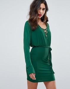 Облегающее платье мини со шнуровкой спереди Outrageous Fortune - Зеленый