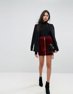 Бархатная мини-юбка на молнии Ivyrevel - Красный