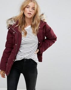 Короткая дутая куртка с воротником из искусственного меха Vila - Фиолетовый