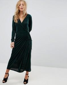 Платье миди с запахом и плиссировкой Vila - Зеленый