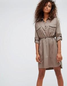 Платье-рубашка в стиле милитари All Saints Lamont - Зеленый