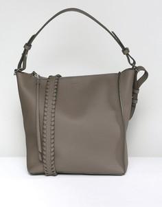 Кожаная сумка через плечо AllSaints - Серый