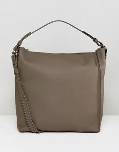 Кожаная сумка-тоут AllSaints - Серый