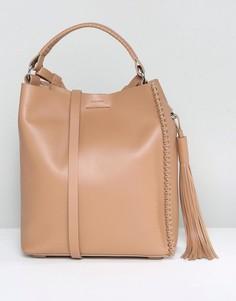 Кожаная сумка через плечо AllSaints - Коричневый