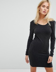 Платье мини с длинными рукавами и блестками Noisy May - Черный