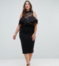 Облегающее платье миди с кружевом и оборками ASOS CURVE - Черный