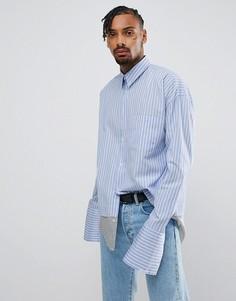 Синяя оверсайз-рубашка в полоску Granted - Синий