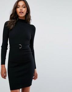 8d4c760c00f Трикотажное платье мини с длинными рукавами и пуговицами в стиле милитари  Lipsy - Черный