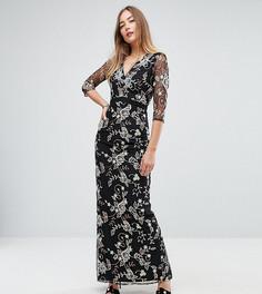 Платье макси с цветочной вышивкой Little Mistress Tall - Мульти