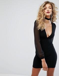 Платье мини с полупрозрачными рукавами Motel - Черный