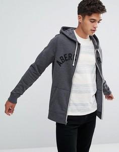 Худи темно-серого цвета с молнией и логотипом Abercrombie & Fitch - Серый
