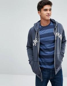 Худи темно-синего цвета с молнией и логотипом Abercrombie & Fitch - Темно-синий