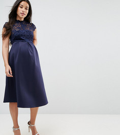 Приталенное платье миди с кружевным лифом ASOS Maternity - Темно-синий