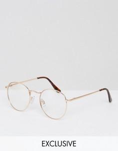 Круглые очки с прозрачными стеклами в золотистой оправе Reclaimed Vintage - Золотой