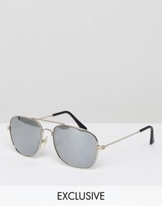 Солнцезащитные очки-авиаторы с серебристыми зеркальными стеклами Reclaimed Vintage Inspired - Серебряный