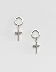 Серьги-гвоздики с крестами DesignB London Halloween - Серебряный